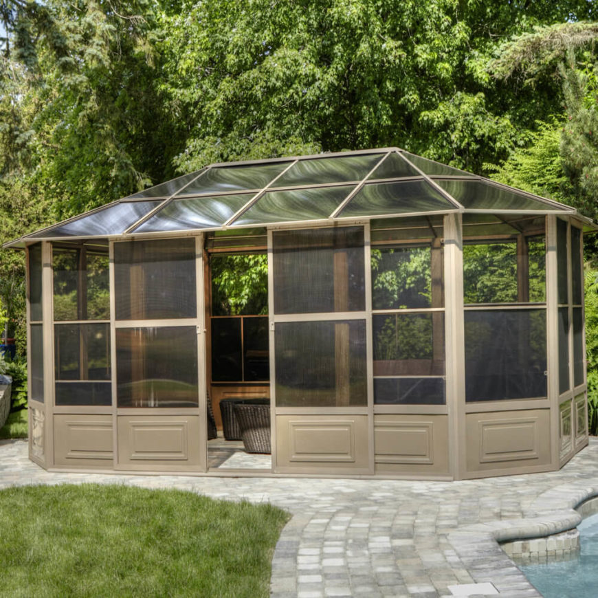 Hardtop gazebos can be made from a variety of different materials. This gazebo has a shaded glass top that is perfect for letting in light while keeping cool.