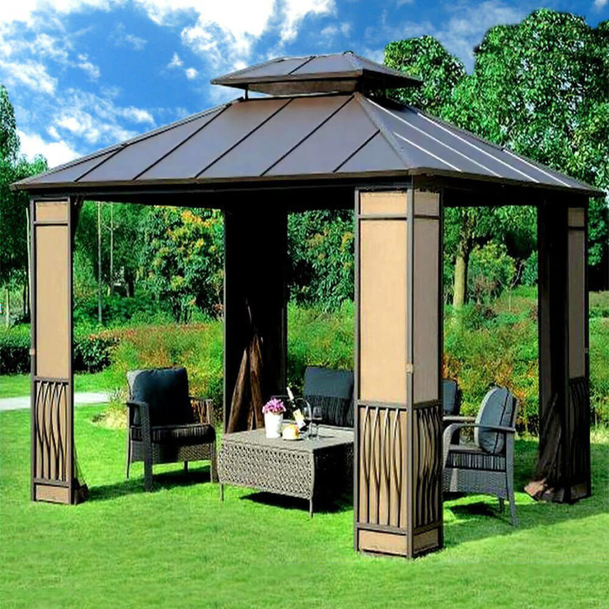 This gazebo is equipped with curtains that can be tucked away on the corner beams. This provides a great option when you want them but allows them to be out of the way when not needed.
