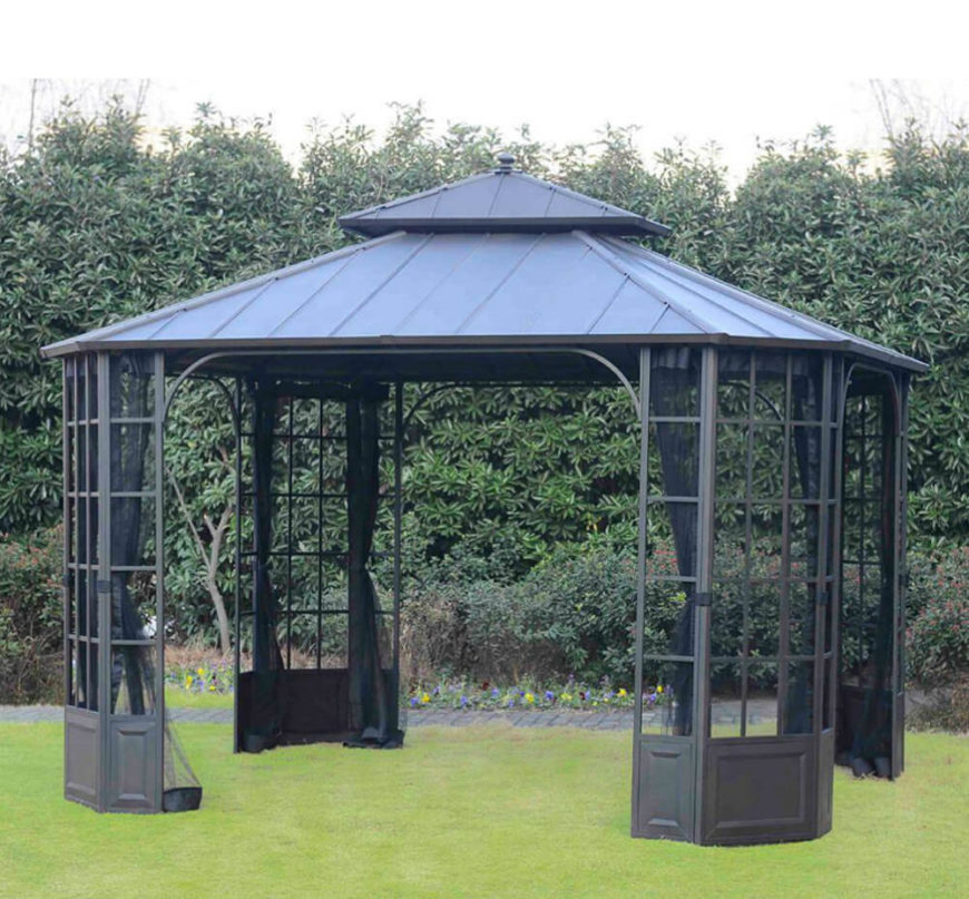 This simple hardtop gazebo comes with curtains. Curtains are useful for closing off your gazebo space for added privacy or just keeping the bugs out at night.