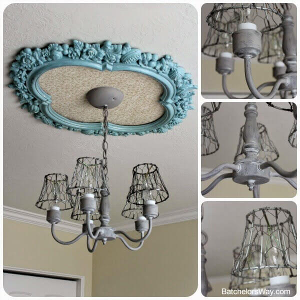 This is a totally unique ceiling light that combines the classic feel of a plaster ceiling medallion with a more industrial metal chandelier. This is a harder DIY, but the customization options available to you with this project are excellent.