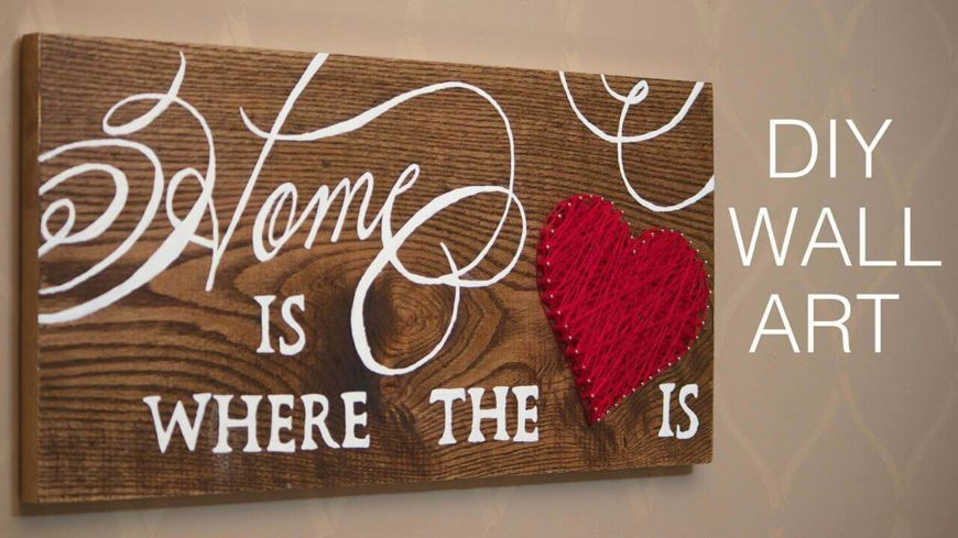 This adorable bit of wall art combines a sweet saying with a string-art heart and is perfect for pretty much any style home. This is an easy DIY project that is perfect for your own home, or as a gift for family or friends.