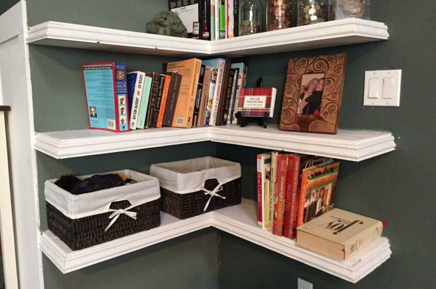 Floating corner shelving is welcome in basically any room in the house, but nowhere is it more useful than in a living room or family room. This DIY makes perfect use of a small corner by adding three tiers of floating shelving.