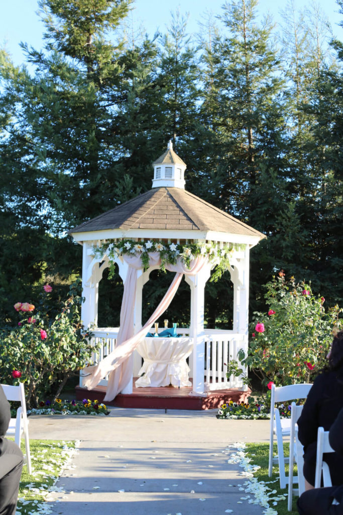 By draping flowering and drapes from the ceiling of your gazebo your structure will be elevated in elegance and grace. You can stage many great events centered around your gazebo when it is dressed like this.