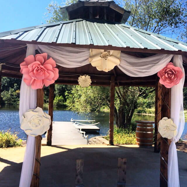 Drapes can add elegance to your gazebo. This set of floral drapes can dress up a gazebo for a special occasion, transforming it into a spectacular space for the event.