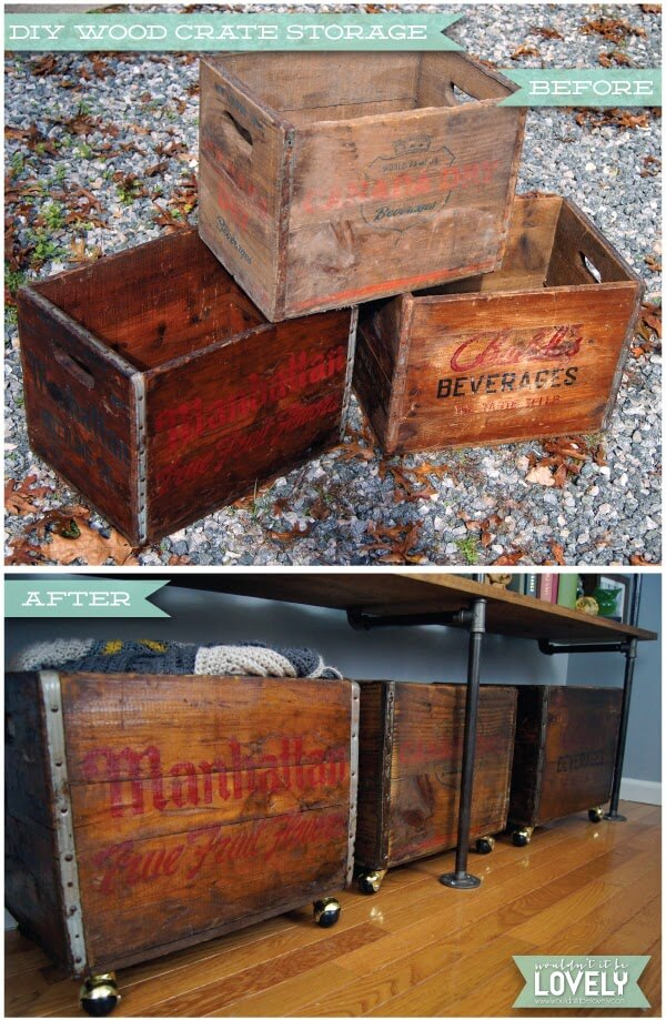 Transform vintage storage crates into convenient, clever storage options with this simple DIY! Choose weathered old crates gathered at flea markets or antique stores with logos from local companies for a unique look!