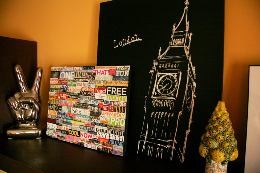 This adorable bit of wall art is created by picking out words and phrases out of magazines and attaching them to a canvas! This is a super easy DIY that teens and older children will love to help out with.