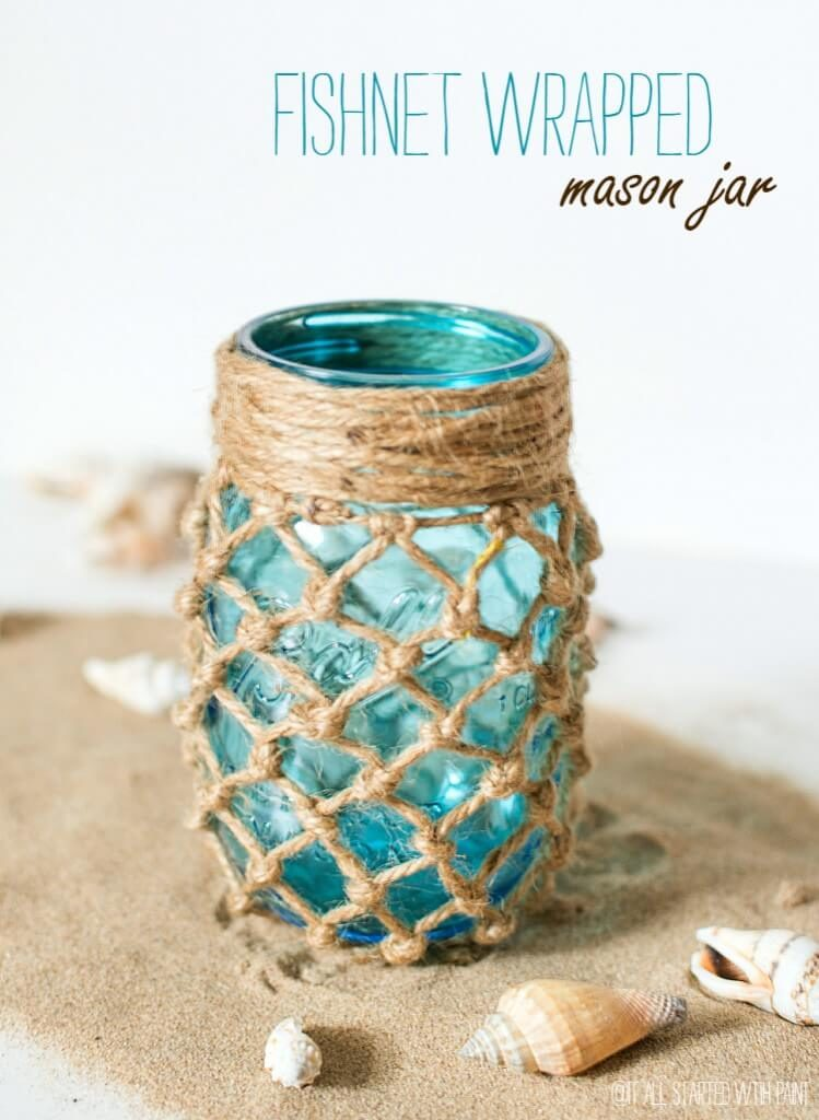 A bit of twine over a blue mason jar has a decidedly beachy feel and looks great as a luminary, a vase, or just by itself!