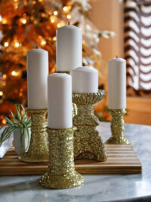 Dress up some old candlesticks with glitter! This tutorial will show you how to tackle glitter and make projects that won't flake away. Keep the glitter on your projects—not on your carpet!