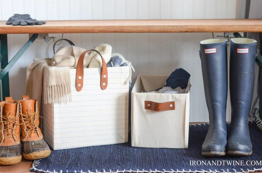 These adorable storage bins will go perfectly in a mudroom, foyer, or in a bedroom, and there's no way you can tell that they're made from cardboard!