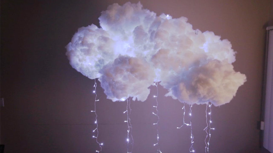 This incredible light fixture looks just like a cloud and utilizes blinking lights to resemble lighting inside the cloud!
