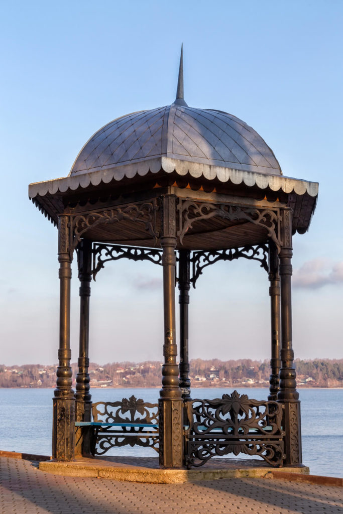 This interesting gazebo with extravagant details introduces a great deal of style and design. This gazebo would act well as the centerpiece of a design or landscape.