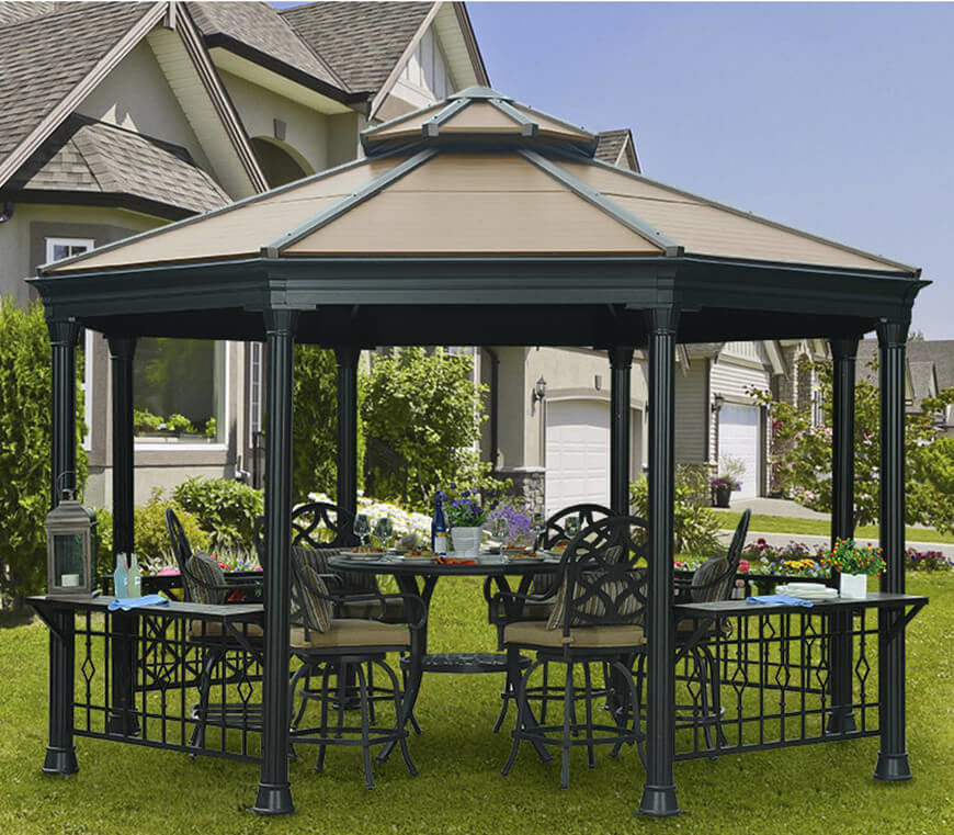 This metal gazebo comes equipped with a gate, giving the space a more directed flow and a clear entrance into the dining space underneath. This is a great gazebo for an outdoor eating area.
