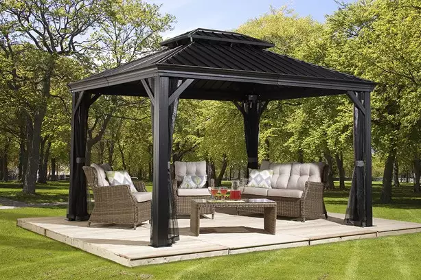 If you need a simple topper for your patio set, a metal top gazebo such as this is a marvelous solution.
