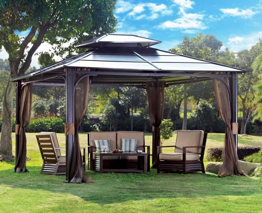 Gazebos with nets are great for keeping bugs and other critters away while you are out enjoying your yard under your gazebo. The nets retract when not in use, but they are easy to pull out and put into place once needed.