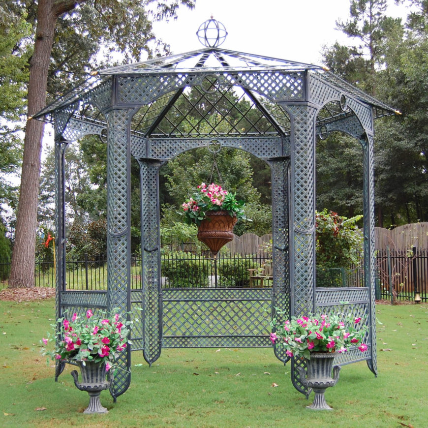This style of gazebo is ideal for pairing with elegant planters and a well organized garden. While it does not provide much shade, this gazebo provides a wonderful decorative element to your yard.