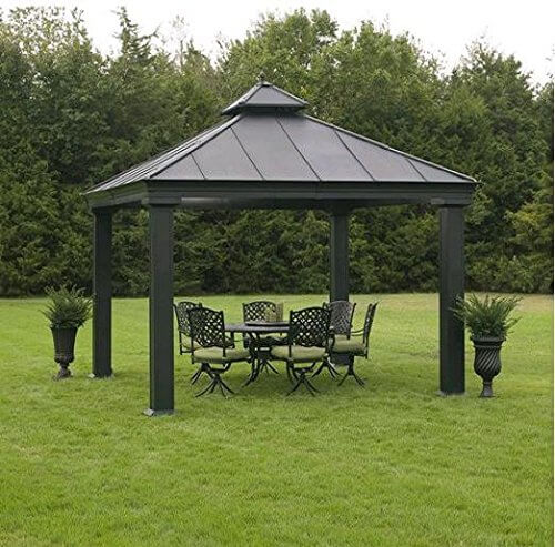 This simple gazebo is a functional and minimal version of a metal gazebo. This no-frills gazebo is perfect for placing over top a nice outdoor eating area to keep the sun and rain from ruining your outdoor gatherings.