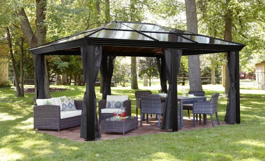 This gazebo sets the stage for a cozy and welcoming outdoor relaxation and eating area. It is long enough to accommodate both a tall table and chairs as well as a relaxed patio set. It is a fantastic multi-use metal gazebo.