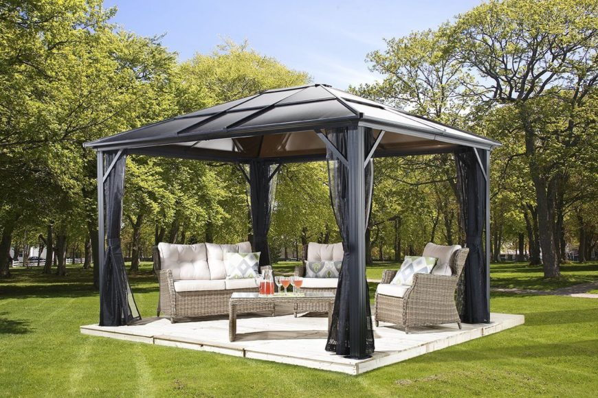 This metal gazebo has attached nets for keeping bugs out while you are outside enjoying your yard. The tinted glass top on this gazebo is perfect for keeping things bright while mitigating the harsh rays of the sun.