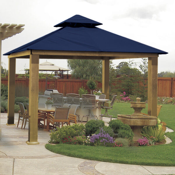 Gazebos can be made from all types of metals. This gazebo is made from lightweight aluminum, making it easy to move and handle. The pieces underneath have made this space an extension of the inside with a corresponding bar and eating space.