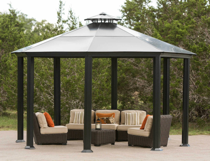This gazebo is the perfect shape to hold an outdoor socializing area. You and your friends will have plenty of memorable times together under a gazebo like this.