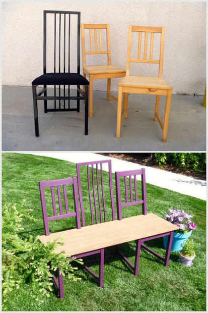 If you don't know what to do with your old dining chairs, have a little mercy instead of junking them. Up-cycling them into this new purple bench would be great. Check out the linked tutorial for how to build it.