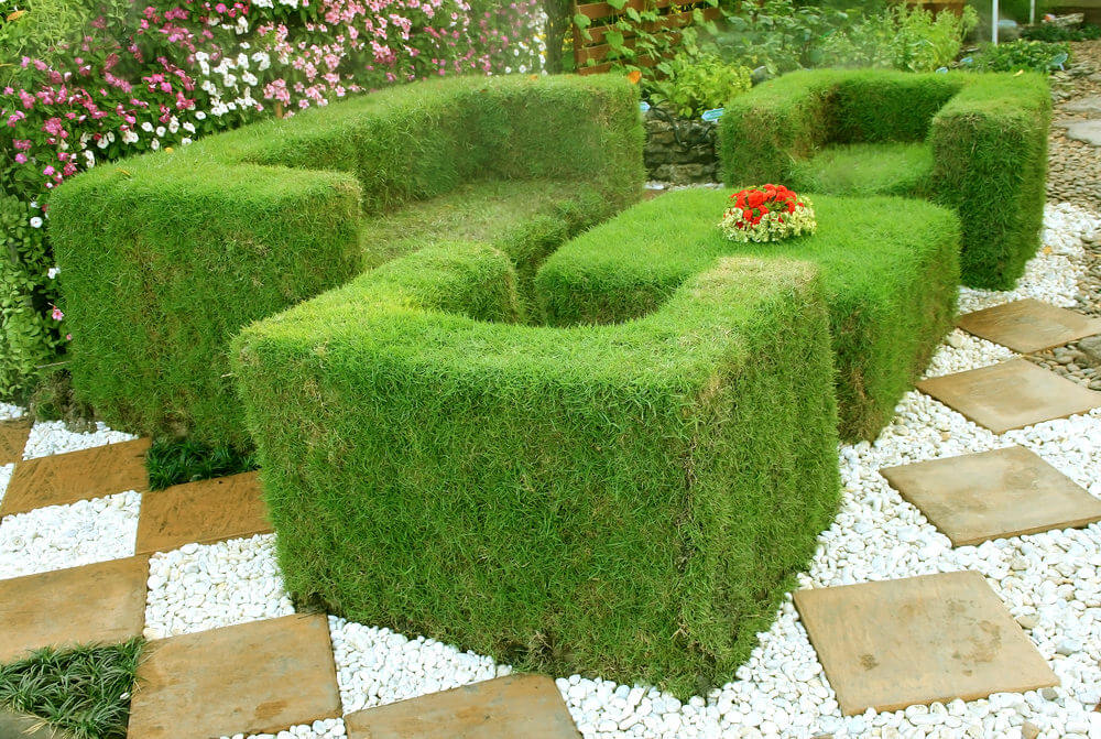 This is an extension of the grassy landscape formed into a creative sofa set complete with a center table. Having this in a garden would totally look interesting and delightful.
