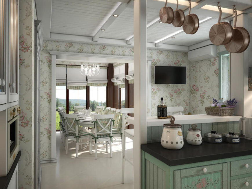 From the kitchen, we see a direct view to the large dining room. The other side of this counter also acts as a space for in-kitchen dining.