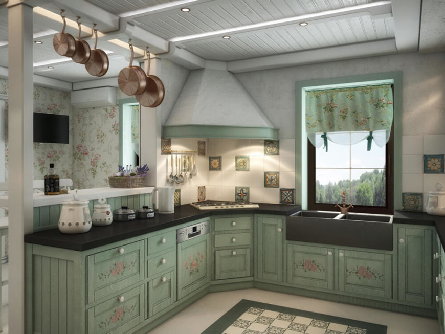 The kitchen also features a unique tile backsplash with painted pieces interspersed with white tiles. It's another layer of contrast and detail for the elegant design.