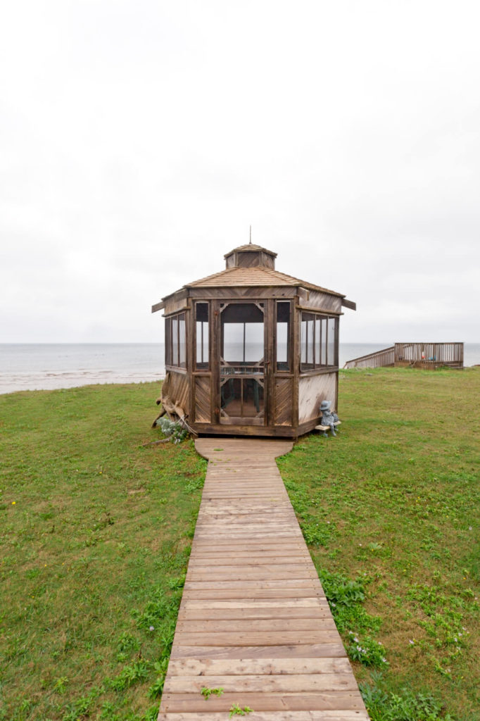 This waterside gazebo provides a great place to relax on your way to the beach, or works well as a spot to dry off on your way back. It is also a place where you can have a nice meal overlooking the water without having to worry about insects spoiling your meal.