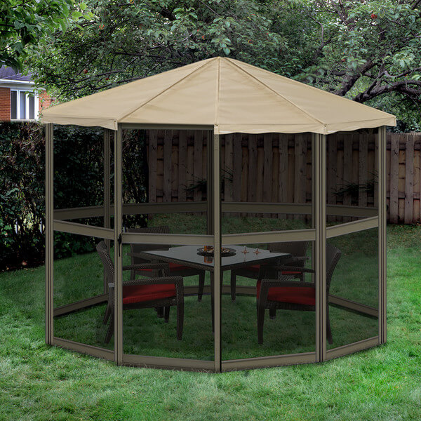 The sides of this gazebo are almost entirely screen. This style of gazebo is perfect for a small waiting area out on the lawn or in the yard. It is the perfect spot for a cozy table with four chairs where you can have a meal or play a game of cards.