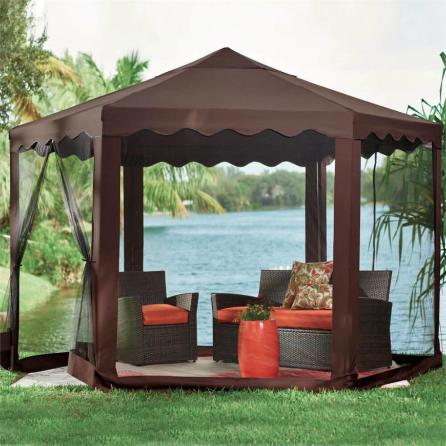 Here is a cozy gazebo with a simple design that can make your spot down by the lake comfortable and bug free. Now you can hang out down by the lake for hours without a worry of being attacked by any angry insects.