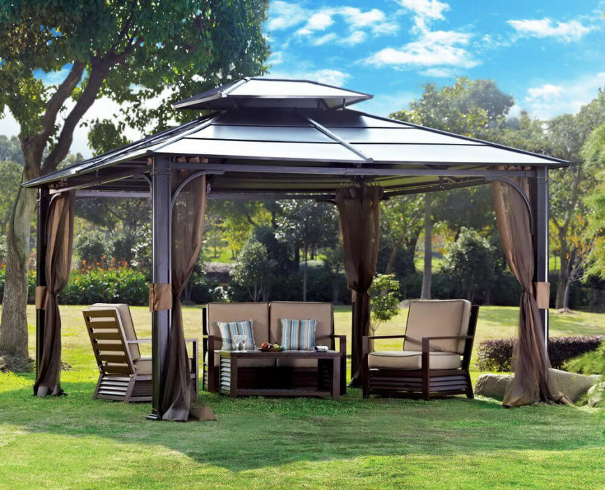 This metal gazebo has curtains that are pulled back and out of the way. When pulled back, it creates an open and breezy feel. But once the bugs come out, the curtains can be closed quickly to block off the area.