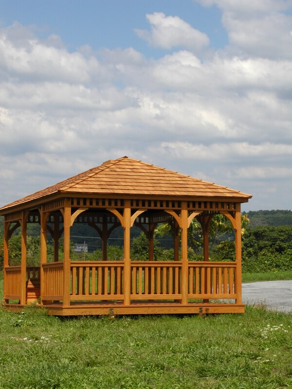 A few benches in a wooden lakeside gazebo can inspire you to chill out by the water.