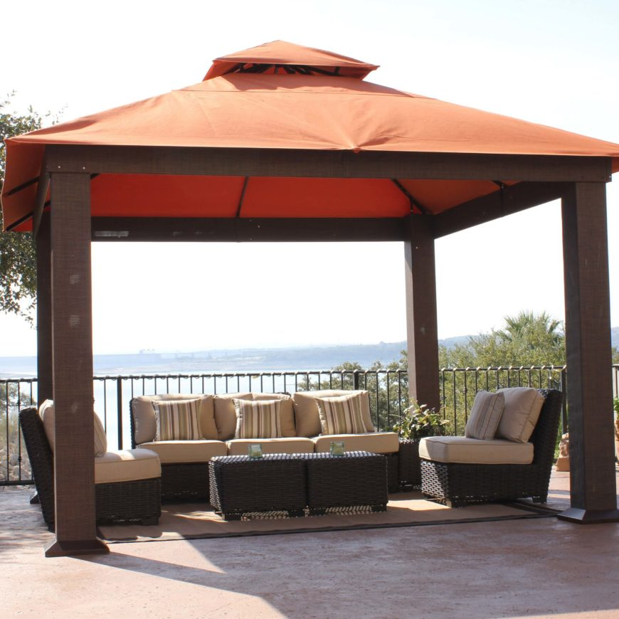 A fabric top gazebo such as this houses a comfortable hang out spot on your patio. With a bit of shade, your outdoor space will be a far more attractive place to gather.