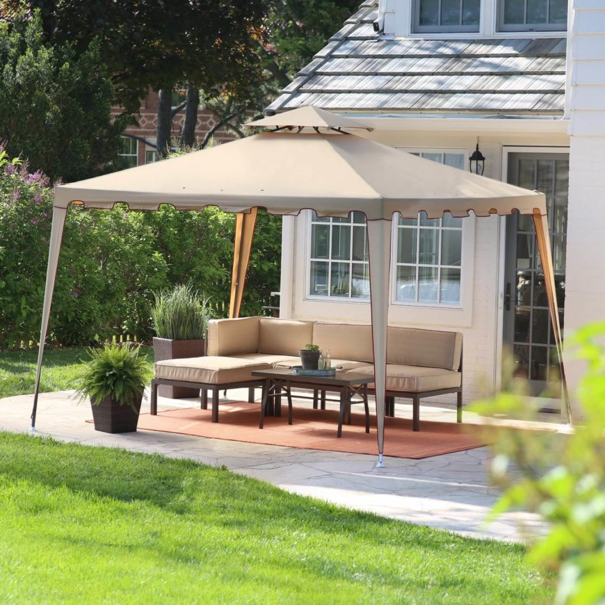For more versatility you can opt for a simple mobile gazebo like this one. The shady square gazebo is perfect for many different uses. You can place it over top a variety of yard furniture pieces or even set it over a playplace for kids to keep them out of the sun.