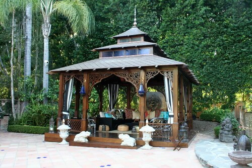 This Asian style gazebo is oozing style and design elements that really make this piece pop. It catches the eye and draws focus. It is a great piece for any Asian inspired yard.