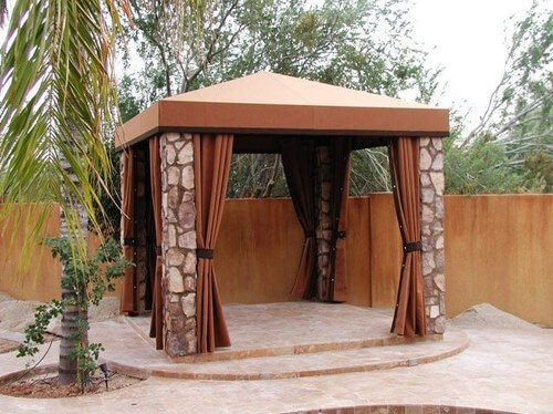 The stone pillars of this square gazebo are sturdy and strong which makes this square gazebo a long-lasting installation in this backyard.