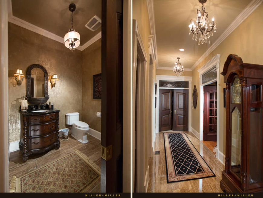 Here's a look at both the main hallway, at right, and one of many bathrooms sprinkled throughout the floor plan. Ornamental wood and lighting designs fill these spaces with detail.