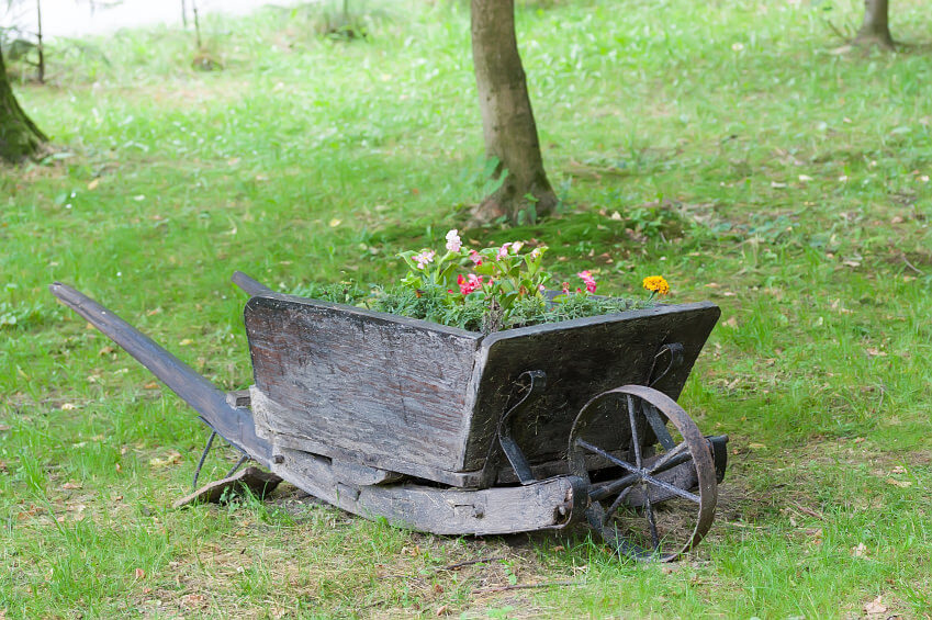 Interesting wheel barrow design with curved handle and frame.