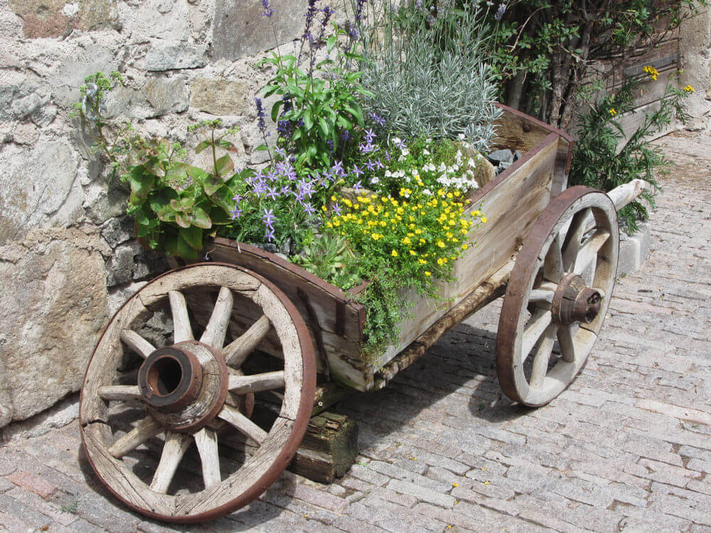 Beautiful antique wooden wheelbarrow with metal and wood wheels.