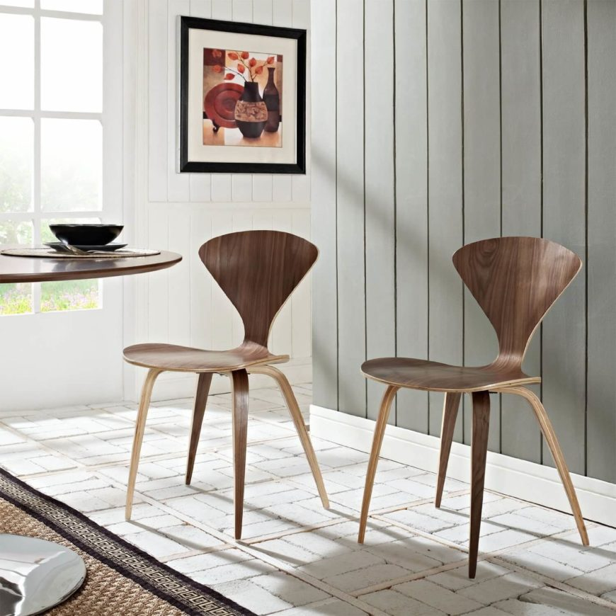 Here are some Churner style chairs that do not have arms, but still retain the signature shape and curves. These stylish chairs are perfect for pulling up to any table.