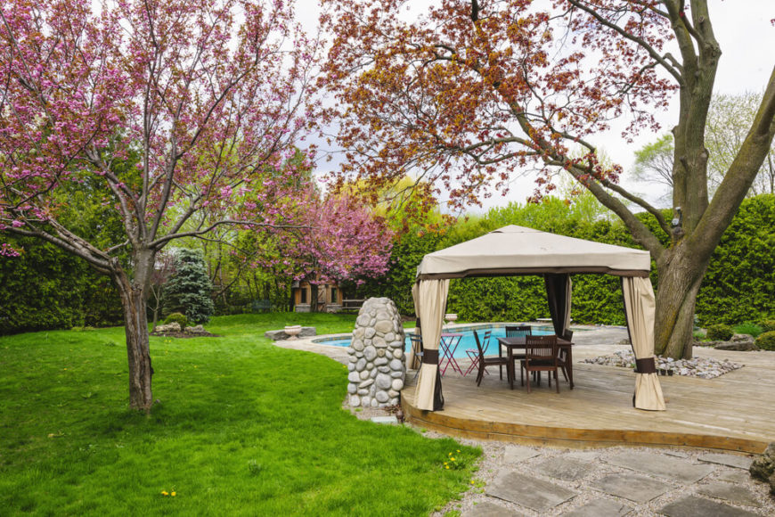 This patio gazebo has nice thick curtains that can be used to build privacy as well as to control temperature, making this gazebo a comfortable place to hang out in outside.