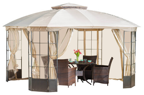 This gazebo has large aluminum panels on the outside that corral the screens when they are not in use.