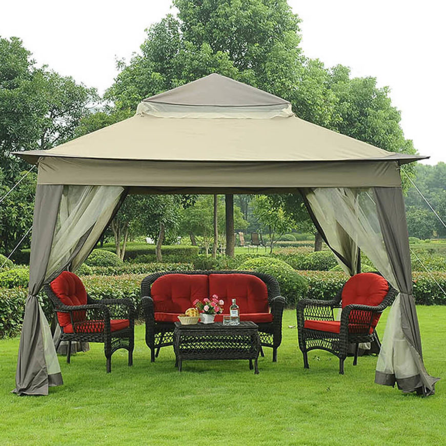 This canvas gazebo has two layers of screens and curtains for privacy and keeping insects out. The gazebo is easily portable and works great in your backyard or should you take it camping.