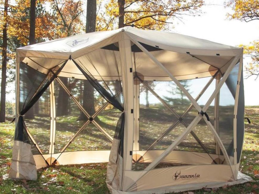 This pop-up tent style portable gazebo is the perfect addition to your backyard on days when the bugs are numerous. It's also easy to collapse and put in the back of a truck or car to take camping!