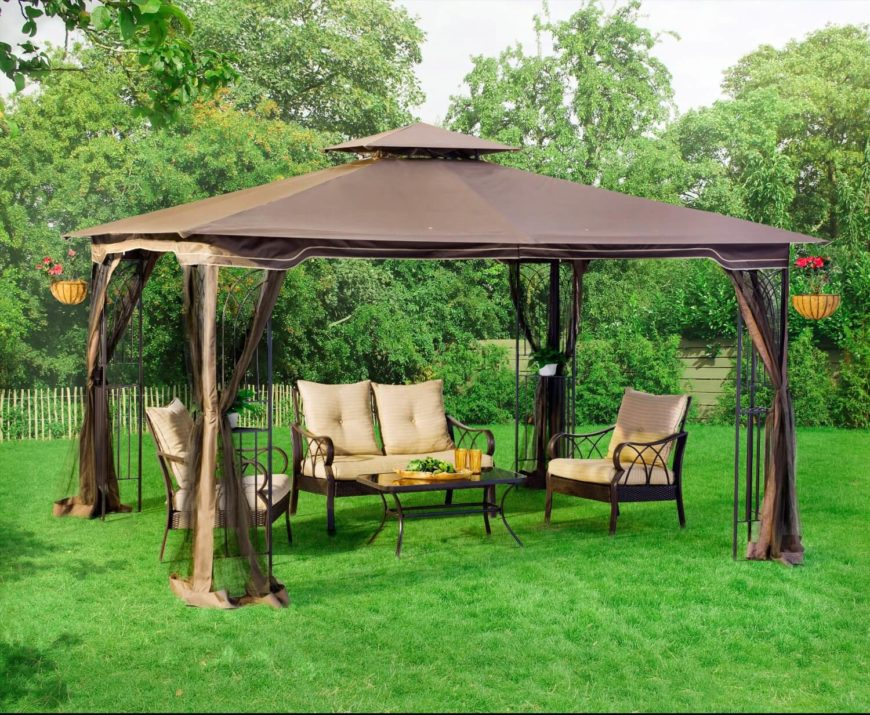 This gazebo only has a single layer of curtains. The screens will help keep out bugs in the evening hours, meaning the party never has to end. This is a spacious model with places to hang flower baskets on the interior.