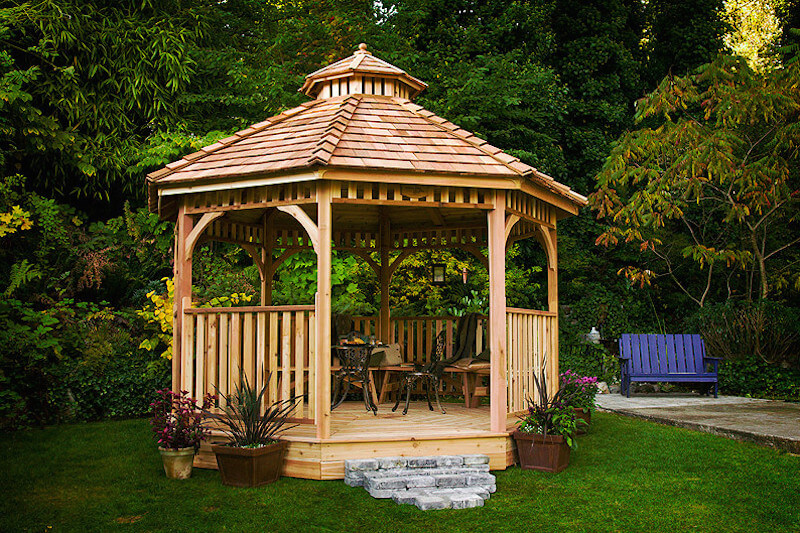 Depending on your needs, you can place all kinds of furniture in a gazebo. With the right furniture, you can create a gathering spot where your guests will hang out in your backyard enjoying the summer nights.