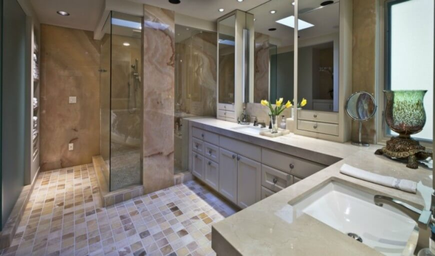 Luxurious Primary Bathroom with Walk-In Shower and Spacious Vanity