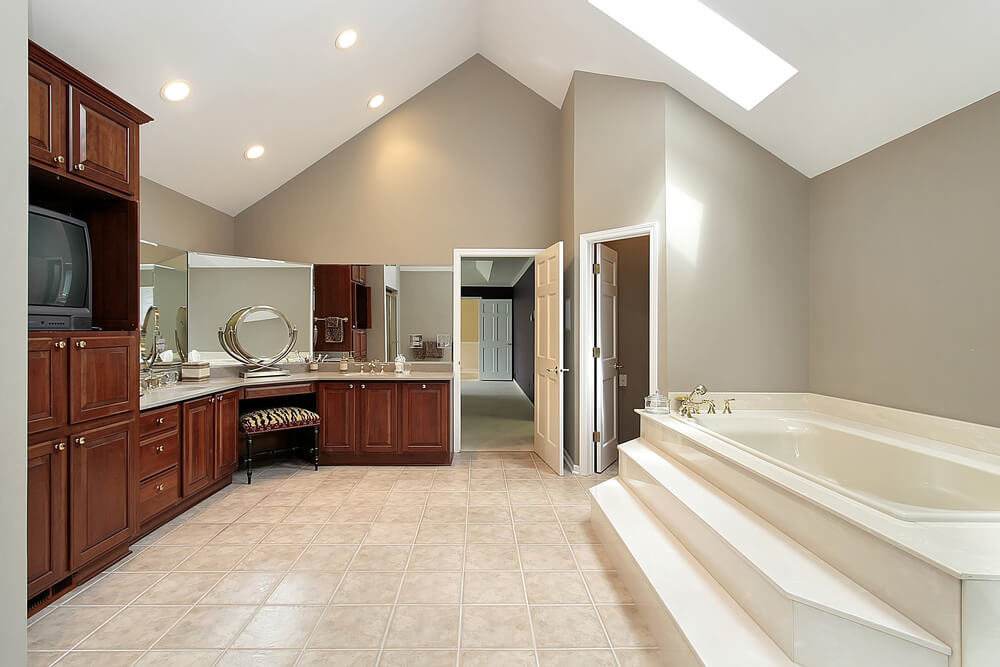Spacious Contemporary Bathroom with Rich Wood