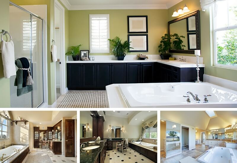 Bathrooms with L-shaped vanities